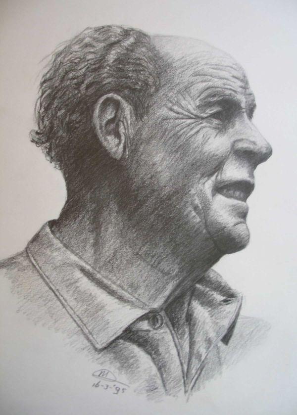 Tekening in schetspotlood van een portret van een turende man