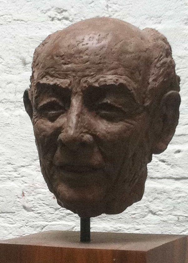 Portret van een kalende vriendelijk ogende man in bruin gebakken klei