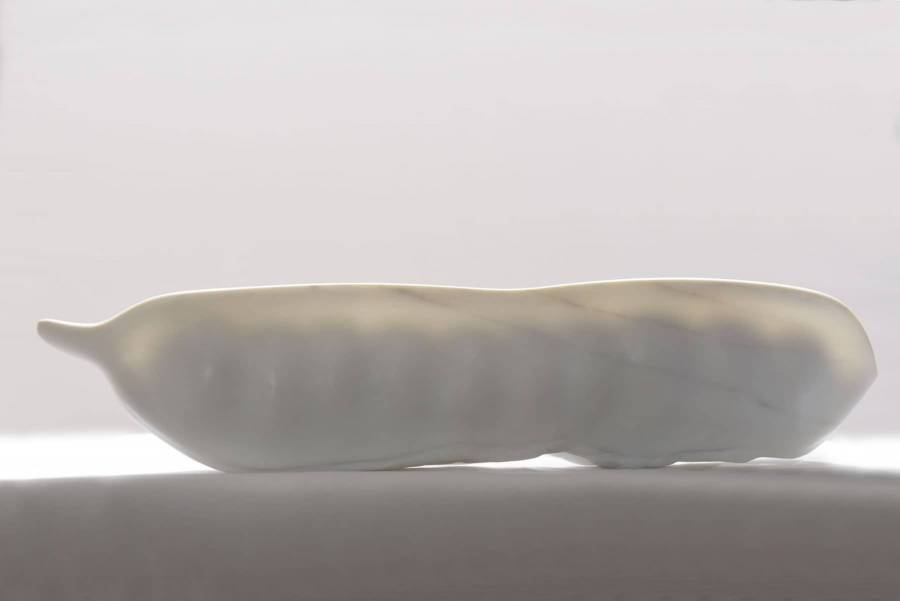Wit marmeren beeld van peulvrucht, rechtop doorzichtig waardoor de zaden zichtbaar zijn